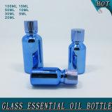 Bouteille de pétrole essentielle en verre bleue Electroplated d'essence de qualité