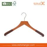 Gancio di vestiti di legno di lusso di rivestimento di gomma nero ecologico di Eisho