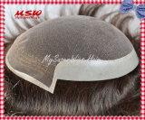 O laço suíço o mais natural com sistema fino do cabelo do perímetro da pele