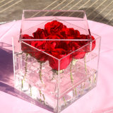 발렌타인 데이 아크릴 플라스틱 아크릴 로즈 꽃 전시 상자