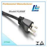 Pinos do plugue 10A 3 do cabo da corrente eléctrica