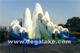 Glissière d'eau gonflable à double voie de montagne à neige avec tube intérieur