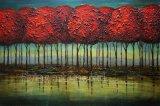 다채로운 추상적인 나무 유화