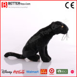 Brinquedo preto macio da pantera do luxuoso do animal enchido do leopardo En71