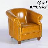 ブラウンの高品質の居間の革ソファーの椅子(618)