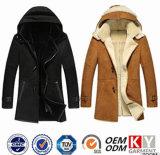 Les hommes du parka long manteau veste en cuir en daim XXL