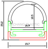 Difusor de perfil de LED de alumínio com reentrância
