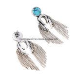 Nueva joyería tachonada de la manera de los pendientes de la borla del encadenamiento de la aleación piedra sintetizada larga retra