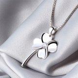 高品質100%の925純銀製女性のための4葉の花のネックレス及びペンダントの約束の罰金の宝石類