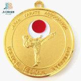 Medaglia su ordinazione poco costosa dei trofei di karatè del metallo di sport dell'oro con il nastro