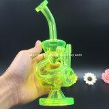 Tubo di fumo di vetro dell'acqua del riciclatore di colore verde di Bontek