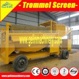 採鉱機械可動装置のトロンメルを洗浄し、分ける沖積金