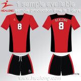 Jeu rouge et noir de type fait sur commande de mode de Helaong de couleur d'équipe d'usure du football