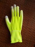 Guante cubierto PU amarillo fluorescente del trabajo de la seguridad de la pantalla táctil del trazador de líneas del poliester de 13 calibradores (PU2007)