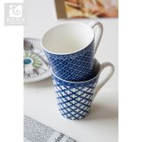 Taza de café azul de la taza del té de la porcelana de la fábrica de China del color de la forma de V