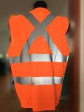 Тельняшка работы Mens померанцовой безопасности Hi-Визави отражательная с лентами