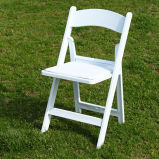 白い樹脂のプラスチック宴会の折りたたみ椅子