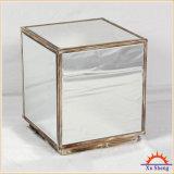 Mirrored Accent Cubic Coffee Table e Nightstand com moldura de madeira