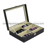 Rectángulo de empaquetado del regalo de cuero negro de las gafas de sol