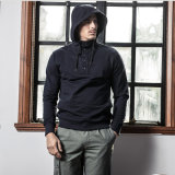 Black pull Mens Hoodies avec le bouton