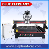 Maquinaria de talla de madera multi azul 1530 del ranurador de la carpintería del diseño de la puerta principal del CNC de la pista de Ele Shandong del elefante para los cilindros