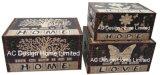 S/3 декоративные предметы антиквариата Vintage Цветочный дизайн прямоугольные печати фиолетового цвета кожи/MDF деревянные окна соединительных линий для хранения