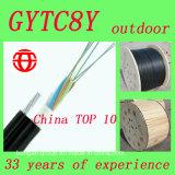 Gytc8y 8 Núcleo Auto Apoyo Cable de fibra óptica 8 Figura Hilo de acero para antena