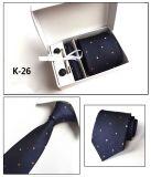 Cadre tissé à la mode de Pin de relation étroite de bouton de manchette de mouchoir de relation étroite du polyester des hommes neufs de modèle réglé (K26/27/28/29)