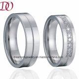 Anel de casamento Handmade polonês elevado do Zircon da CZ do anel de casamento do CNC do anel da jóia para homens e mulheres