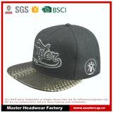 Chapéu do Snapback da borda do couro do tampão de Flanel com logotipo 3D