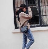 Cruz de couro Cowhide Saco do corpo das mulheres Moda Ombro saco de mão