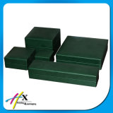Casella di legno impaccante di immagazzinamento in il contenitore dell'unità di elaborazione di monili stabiliti rivestiti di cuoio verde scuro del lusso