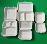 Biodegradable коробка обеда багассы сахарныйа тростник, 10 Clamshell коробки дюйма 3comp