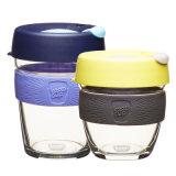 Austrtalia populärer Arbeitsweg-Glaskaffeetasse-bewegliches Glascup mit Silikon-Kappe