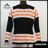 女性の方法落下しまのあるプルオーバーのセーター