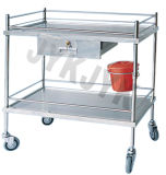 Steel di acciaio inossidabile Treatment Trolley con Two Shelves