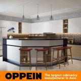 Gabinetes de cozinha de madeira da melamina em forma de L de Oppein com console de canto (OP16-M04)