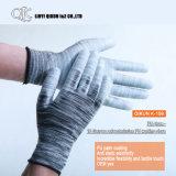 Poliéster dos calibres K-158 13/luvas de trabalho revestidas plutônio segurança do nylon