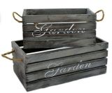 Set 2 Nesting White Retro Wooden Bin Fruit Crate Storage Boxes with Rope Handles