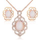 Venta caliente Cat's Eye Flor pendientes y colgante de joyería de moda collar conjunto