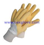 면 저어지 강선, 면 니트 손목, 유액 코팅, 잔물결에 의하여 유행에 따라 디자인 하는 주름 완료 장갑