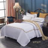 卸し売り白い綿繻子の羽毛布団カバーは100%年の綿のホテルの寝具をセットした