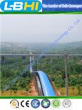 Sistema de transportadores de correa curvado interurbano independiente de R y de D