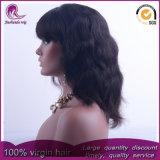 Avec Bangs Big Wave vierge brésilien sèche Full Lace Wig