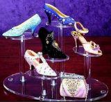 Présentoir acrylique de chaussure de perspex de chaussure d'étagère bon marché transparente de crémaillère