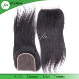 Combinação perfeita de cabelo humano preto natural com rendas Fecho superior