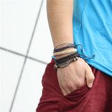 1 braccialetto a più strati del branello degli uomini di cuoio stabiliti del braccialetto 4PCS