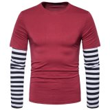 Parti false di contrasto del manicotto lungo sottile casuale di misura degli uomini 2 di colore della camicia di T