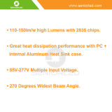 SMD 2835 AC90-277V TUBO LED T8 30W 1500mm