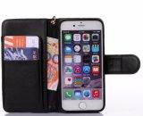 iPhone 8을%s 최신 돋을새김된 까만 PU 가죽 이동 전화 상자